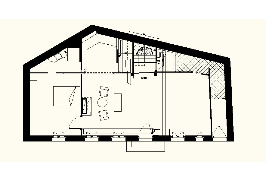 planta de la casa con la escalera